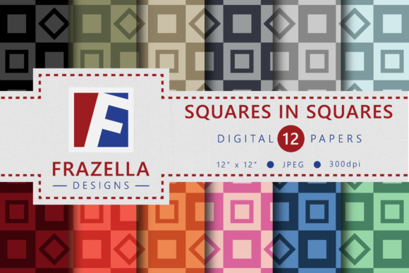 Squares In Squares Retro Digital Paper Collection Graphic By