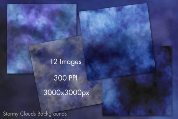 Print on Demand: Stormy Clouds Background Images - 12 Image Set Graphic Backgrounds By SapphireXDesigns - Image 2