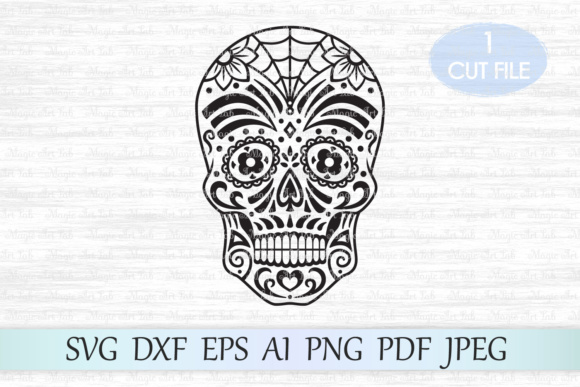 Download Free Sugar Skull Day Of The Dead Graphic By Magicartlab Creative for Cricut Explore, Silhouette and other cutting machines.