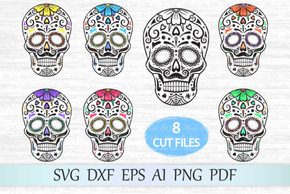 Download Free Sugar Skull Graphic By Magicartlab Creative Fabrica for Cricut Explore, Silhouette and other cutting machines.