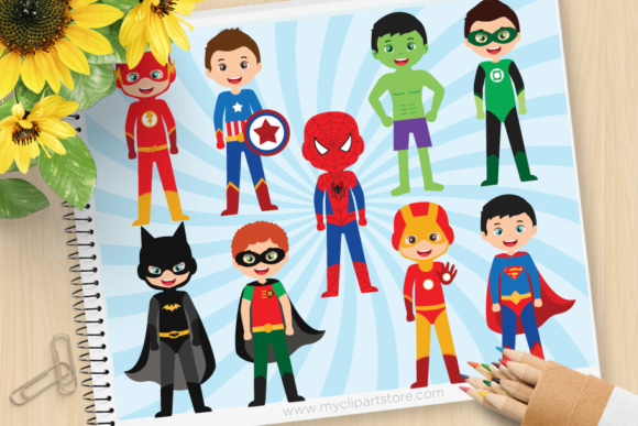 Print on Demand: Superhero BoyClipart Graphic Illustrations By MyClipArtStore