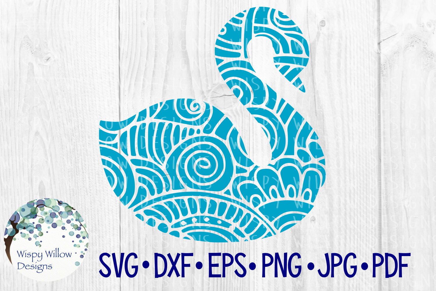 Download Free Swan Zentangle Bird Animal Graphic By Wispywillowdesigns for Cricut Explore, Silhouette and other cutting machines.