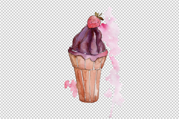 Tasty Ice Cream in a Waffle Cup PNG Set
