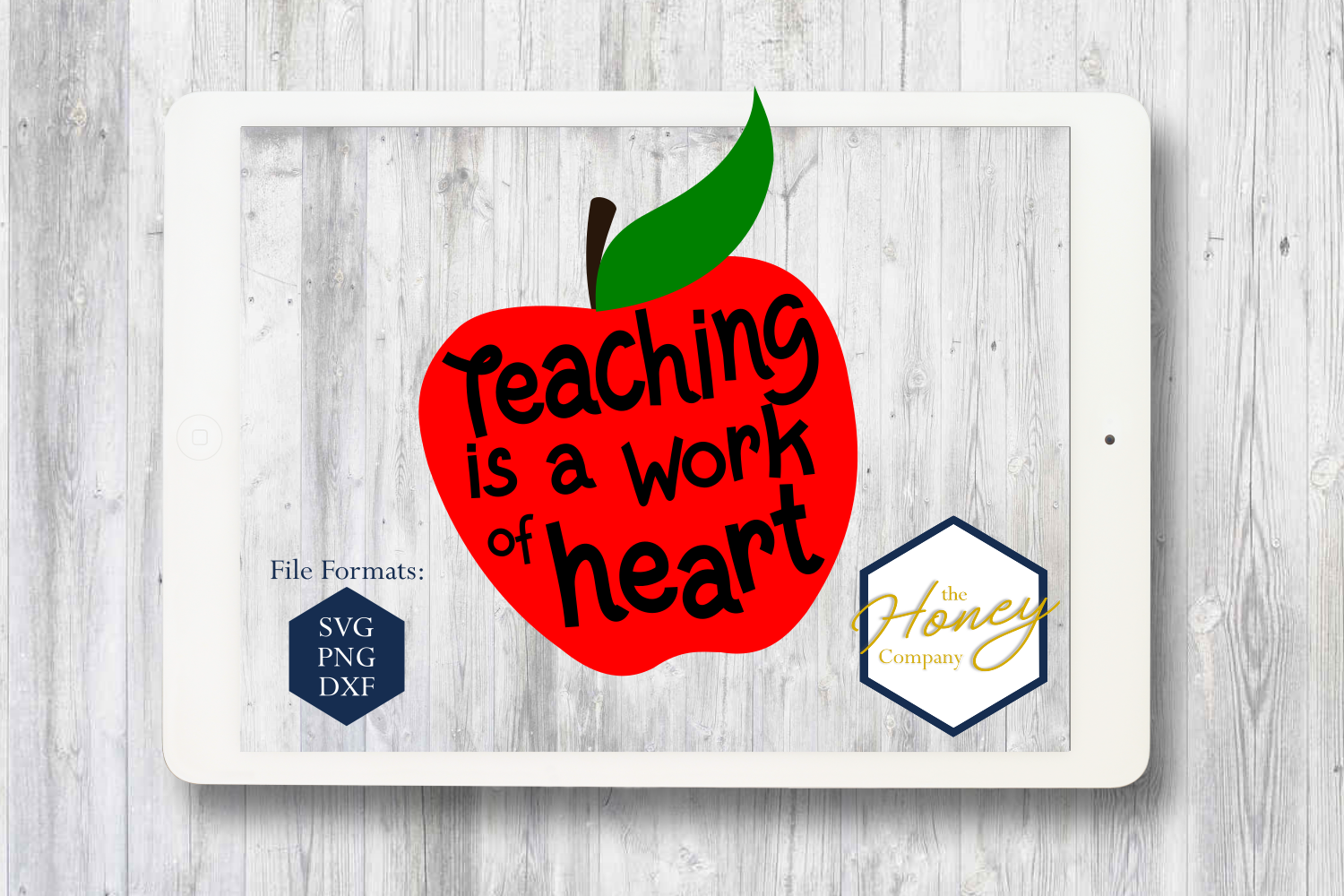 Download Free Teaching Is A Work Of Heart Cut File Vector Clipart Grafico Por for Cricut Explore, Silhouette and other cutting machines.