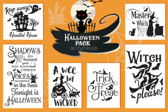 Print on Demand: The Halloween Cut Files Pack with 30 Items Graphic Crafts By Nerd Mama Cut Files