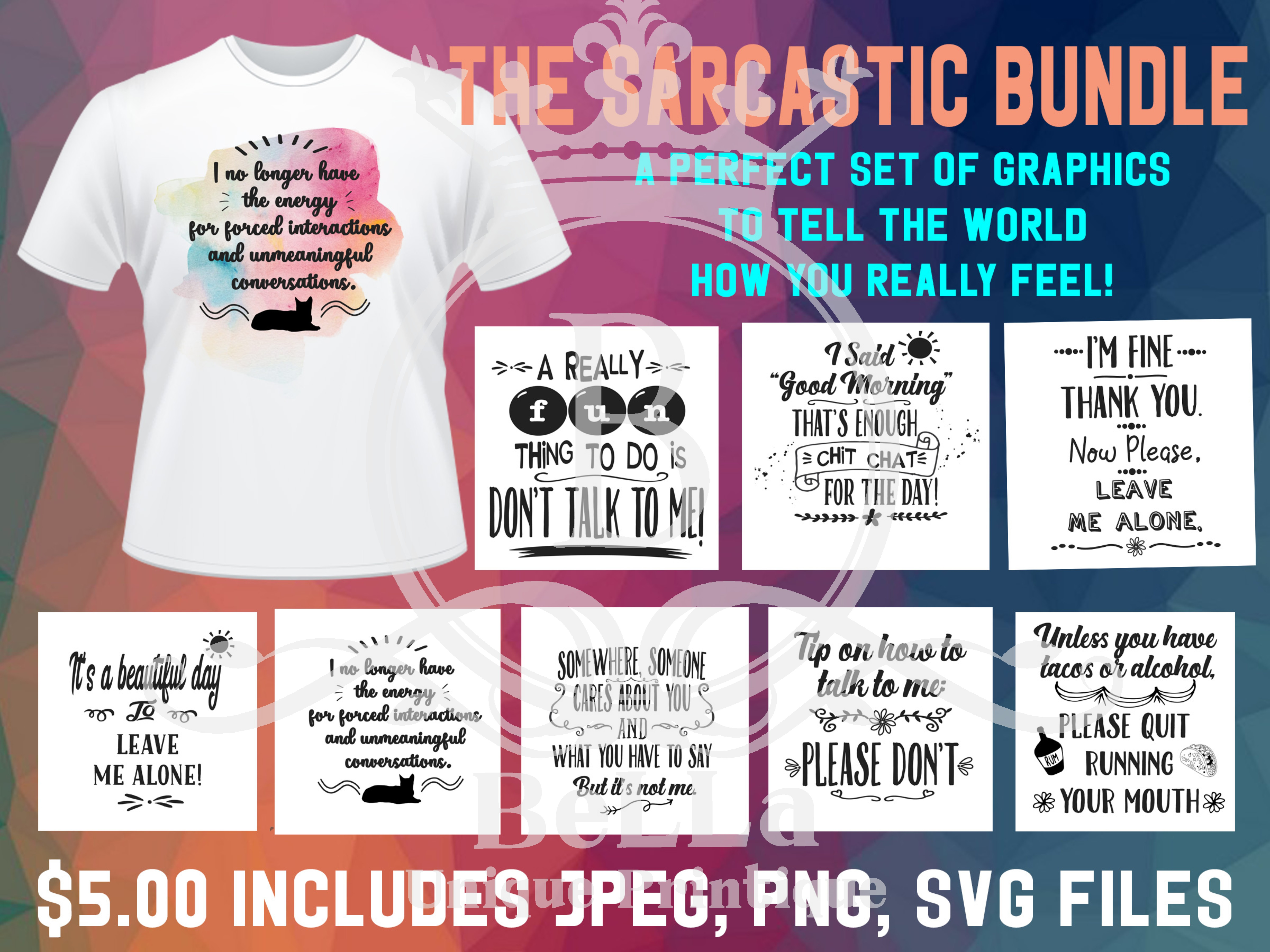 Download Free The Sarcastic Bundle Graphic By Bellauniqueprintique Creative for Cricut Explore, Silhouette and other cutting machines.