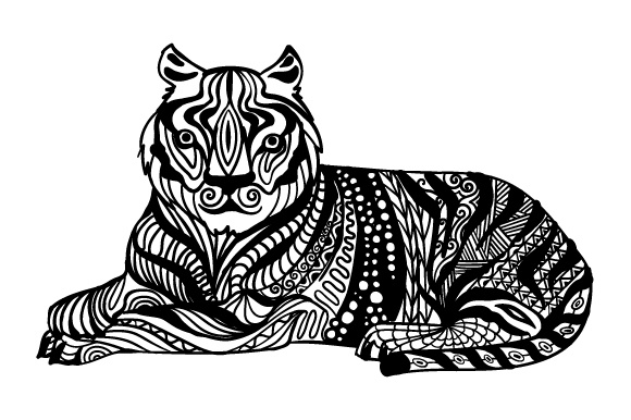 Tiger Lying Down Zentangle Zentangle Craft Cut File By Creative Fabrica Crafts