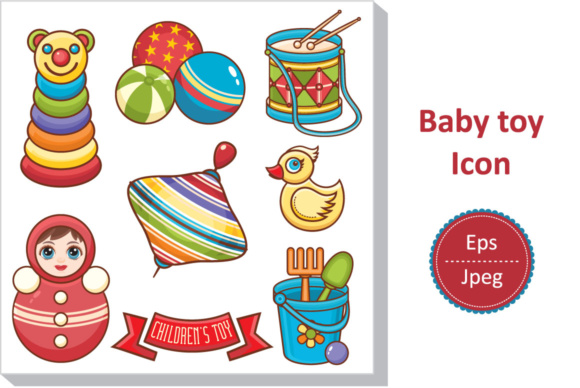 Download Free Toys For Kids Icon Stickers Graphic By Zoyali Creative Fabrica for Cricut Explore, Silhouette and other cutting machines.