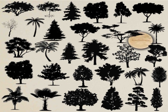 Download Free Tree Silhouette Graphic By Retrowalldecor Creative Fabrica for Cricut Explore, Silhouette and other cutting machines.