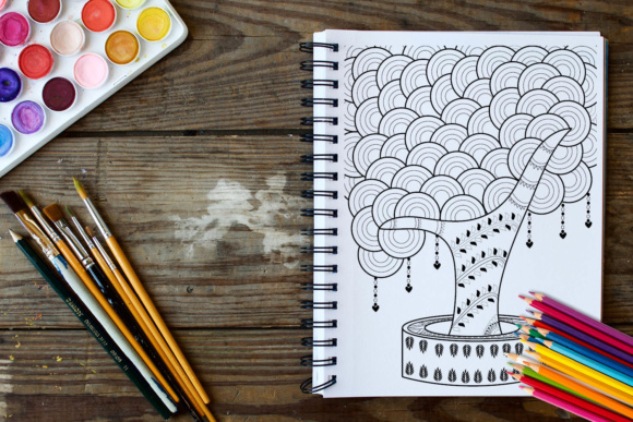 Trees Coloring Book - 30 Unique Coloring Pages Graphic Coloring Pages & Books Adults By ColoringBooks101 - Image 2