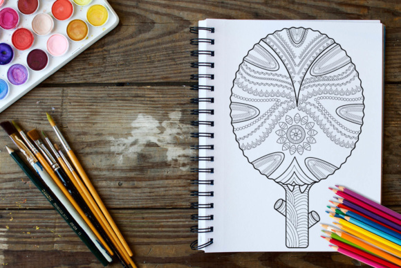 Trees Coloring Book - 30 Unique Coloring Pages Graphic Coloring Pages & Books Adults By ColoringBooks101 - Image 3