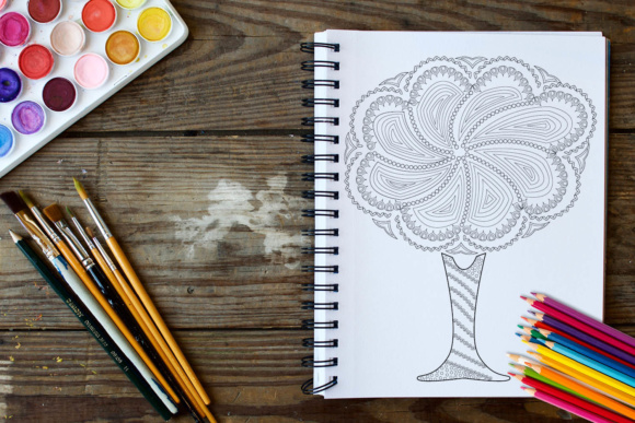 Trees Coloring Book - 30 Unique Coloring Pages Graphic Coloring Pages & Books Adults By ColoringBooks101 - Image 4
