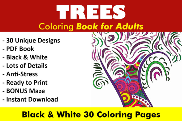 Trees Coloring Book - 30 Unique Coloring Pages Graphic Coloring Pages & Books Adults By ColoringBooks101