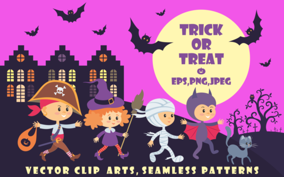 Print on Demand: Trick or Treat: 18 Children in Halloween Costumes Graphic Illustrations By Olga Belova