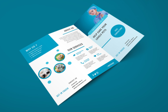Trifold Pets Medical Flyer Graphic Print Templates By TMint
