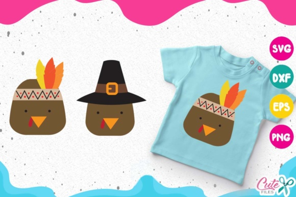 Download Free Turkey Face Pilgrim Hat Thanksgiving Graphic By Cute Files for Cricut Explore, Silhouette and other cutting machines.