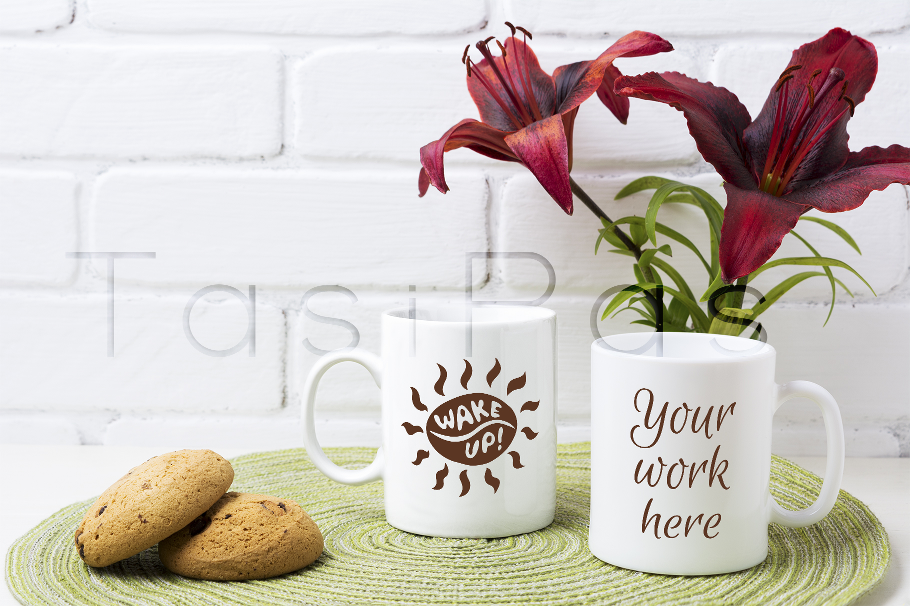 Download Free Two Coffee Mug Mockup With Red Lily And Cookie Graphic By for Cricut Explore, Silhouette and other cutting machines.