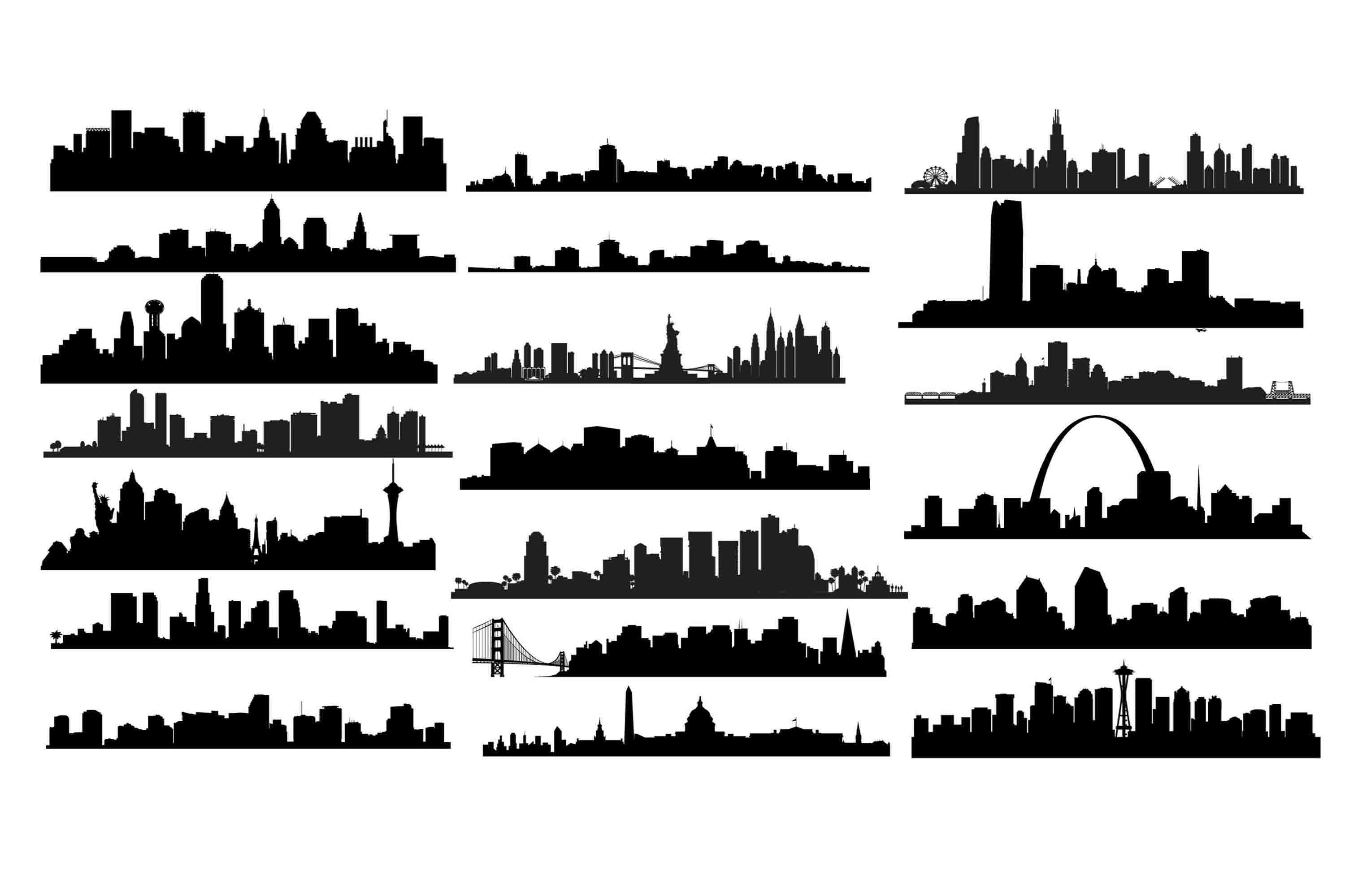 Download Free Us City Skyline Graphic By Retrowalldecor Creative Fabrica for Cricut Explore, Silhouette and other cutting machines.
