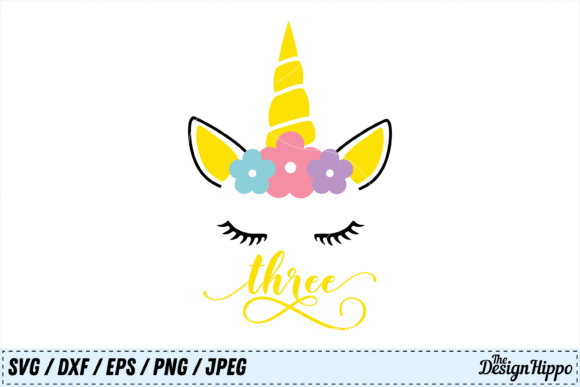 Unicorn 3rd Birthday Svg Grafico Por Thedesignhippo Creative