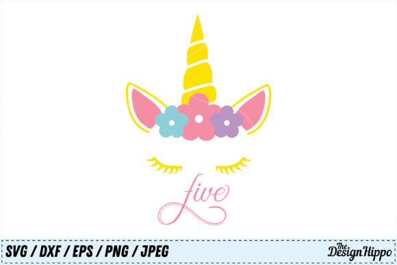 Download Free Unicorn 5th Birthday Svg Graphic By Thedesignhippo Creative for Cricut Explore, Silhouette and other cutting machines.