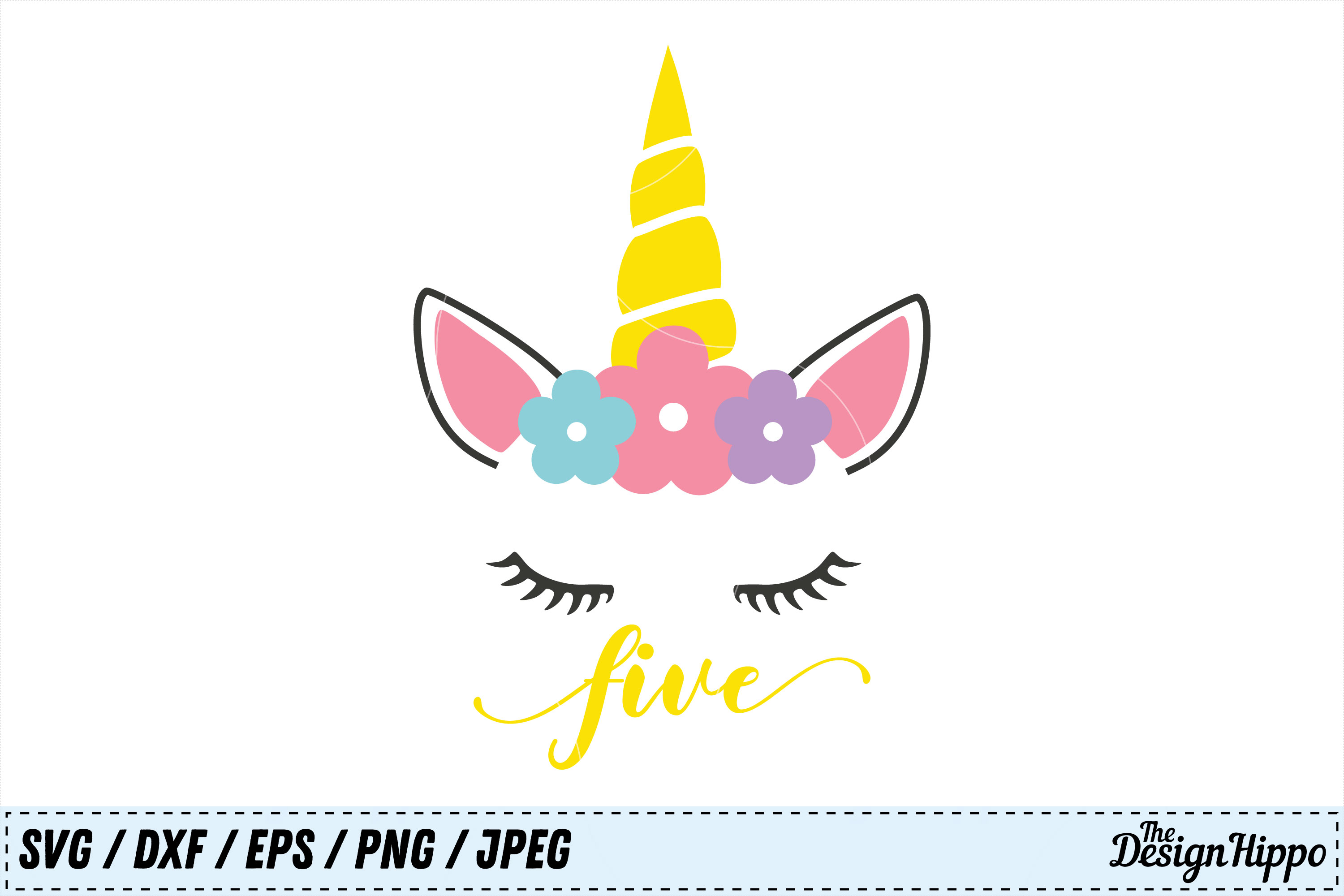 Download Free Unicorn Fifth Birthday Svg Graphic By Thedesignhippo Creative for Cricut Explore, Silhouette and other cutting machines.