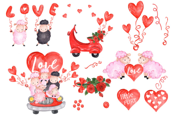 Valentine,Cute Sheep Clipart