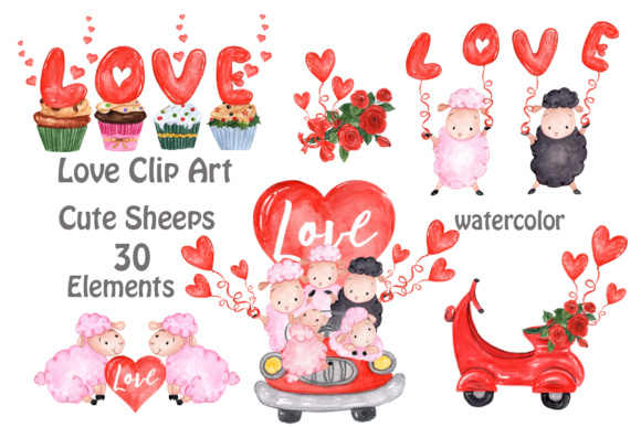 Valentine,Cute Sheep Clipart Graphic Illustrations By vivastarkids
