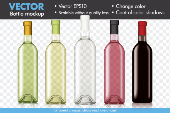 Vector Wine Bottle Mock-up Mockup Template Graphic Product Mockups By Pedro Alexandre Teixeira