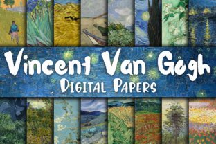 Print on Demand: Vincent Van Gogh Paintings Digital Papers Graphic Backgrounds By oldmarketdesigns