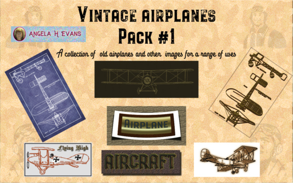 Print on Demand: Vintage Aircraft Pack #1 Graphic Illustrations By Angela H. Evans