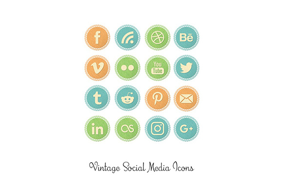 Print on Demand: Vintage Lace Social Media Icons Graphic Icons By Anjana Designs
