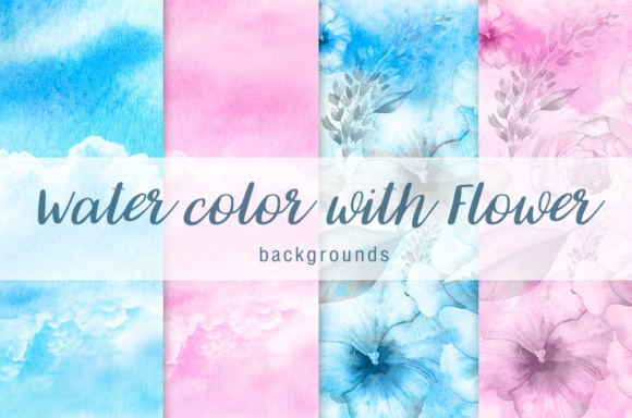 Print on Demand: Water Color with Flower Background Vol.1 Graphic Textures By vito12