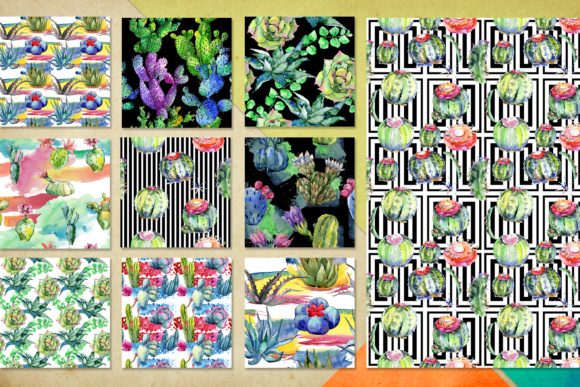 Download Free Watercolor 100 Cacti Patterns Set Graphic By Mystocks Creative for Cricut Explore, Silhouette and other cutting machines.