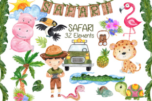 Print on Demand: Watercolor African Animals Clipart Graphic Illustrations By vivastarkids