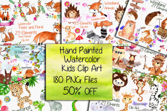 Watercolor Bundle-kids Clipart Wood Animals Graphic Illustrations By vivastarkids