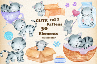 Print on Demand: Watercolor Cats Clipart Graphic Illustrations By vivastarkids