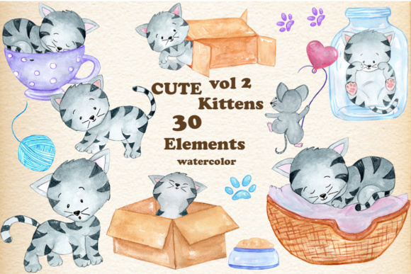 Watercolor Cats Clipart Graphic Illustrations By vivastarkids