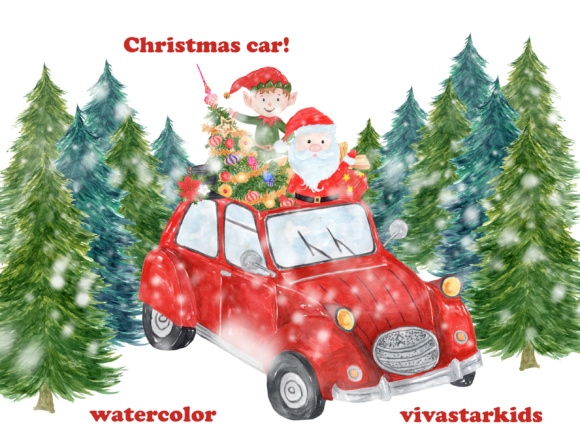 7 Watercolor Christmas Clipart Items Graphic Illustrations By vivastarkids