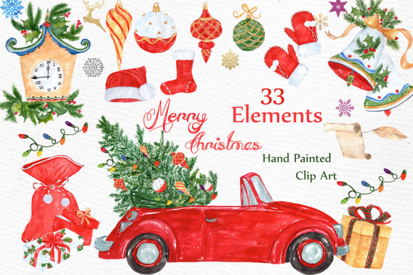 Watercolor Christmas Clipart Graphic Illustrations By LeCoqDesign