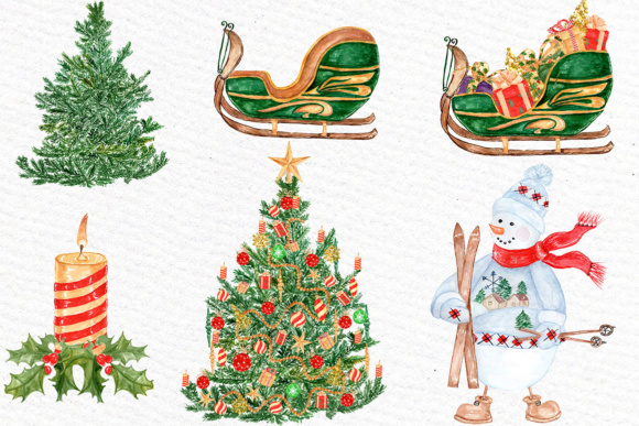 Watercolor Christmas Clipart Graphic Illustrations By LeCoqDesign - Image 3