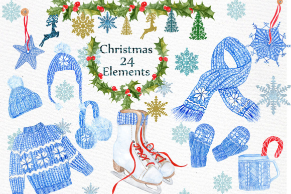 Watercolor Christmas Clipart Graphic By LeCoqDesign