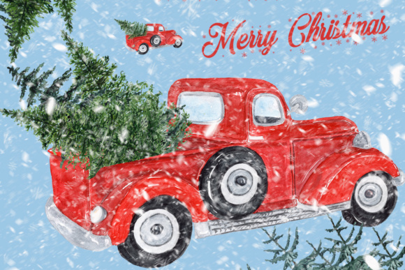 Watercolor Red Christmas Truck Clipart Graphic Illustrations By LeCoqDesign