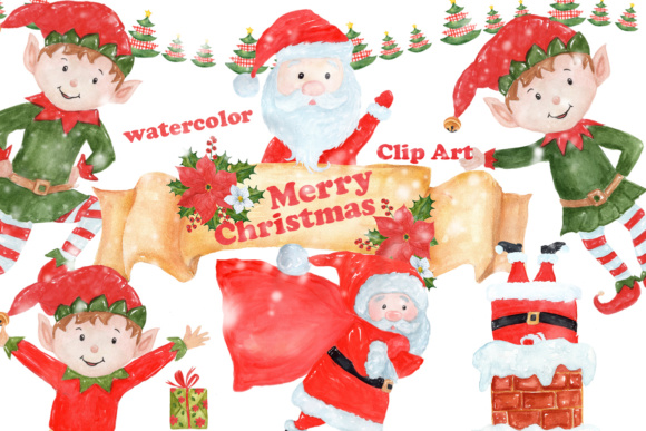 Download Free Watercolor Christmas Clipart Graphic By Vivastarkids Creative for Cricut Explore, Silhouette and other cutting machines.