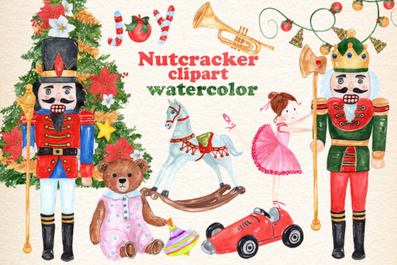 Watercolor Christmas Clipart - Toys Graphic Illustrations By vivastarkids