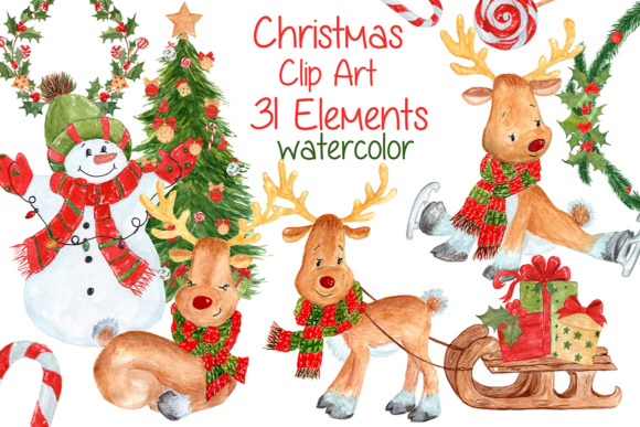Watercolor Christmas Kids Clipart Graphic Illustrations By vivastarkids