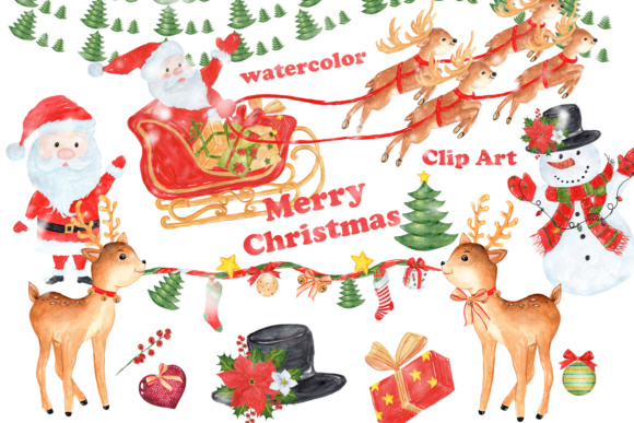 31 Hand Painted Watercolor Christmas Designs Graphic Illustrations By vivastarkids