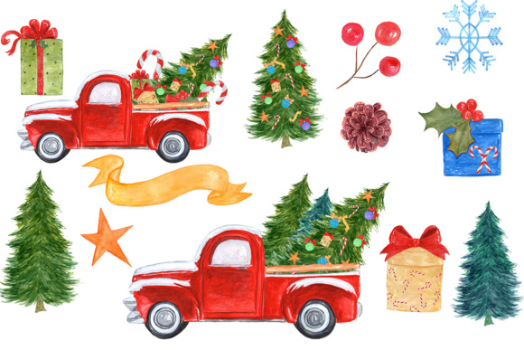 Watercolor Christmas Truck Clipart Graphic By Vivastarkids Creative Fabrica
