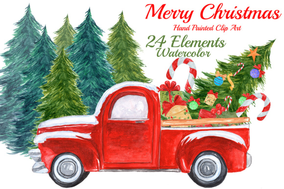 Watercolor Christmas Truck Clipart Graphic Illustrations By vivastarkids