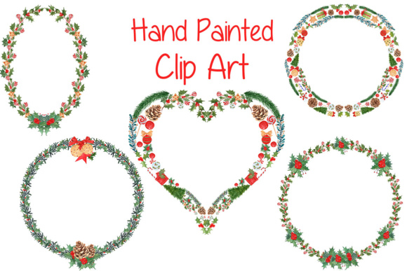 Watercolor Christmas Wreaths, Heart Shape Clipart Graphic Illustrations By vivastarkids - Image 2