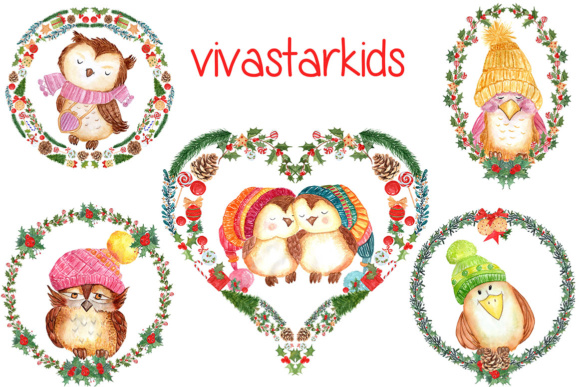 Watercolor Christmas Wreaths, Heart Shape Clipart Graphic Illustrations By vivastarkids - Image 3
